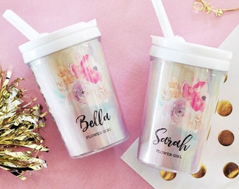 Flower Girl Sippy Cups - Bridal Party Gifts