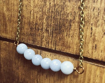 Angelite Necklace, Angelite Jewelry, Bead Bar Necklace, Boho Jewelry, Summer Necklace, Minimal Necklace, Trendy Necklace