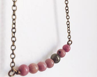 Pyrite Necklace, Rhodonite Necklace, Pink and Gold Necklace, Boho Necklace, Minimal Jewelry, Gemstone Necklace