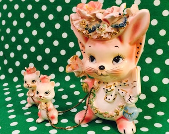 Anthropomorphic Pink Bunny Rabbit Family of 3 Figurines with Flower Hats and Chains made in Japan circa 1950s