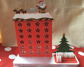 Hand painted Christmas wooden advent calendar