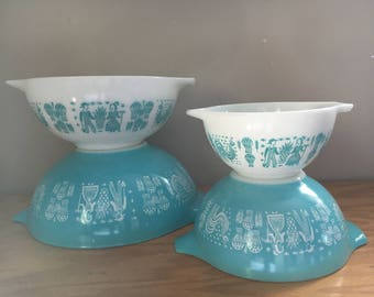 Pyrex Butter Print Cinderella Nesting Bowls