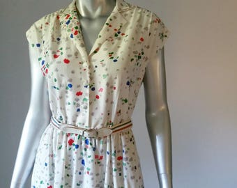 70s Dress White | Leslie Fay Original | Leslie Fay Vintage Dresses | 1970s Dress Small | Leslie Fay Floral Dress |
