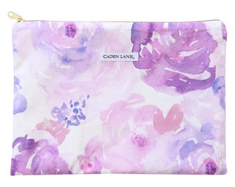 Purple Petal Party Zippered Wet Bag  | Lilac and Lavender Baby Girl Travel Bag | Cloth Diaper Zip Pouch | Watercolor Floral Waterproof Bag