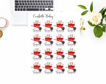 Planner Stickers, Yard Work Gardening, Red Wheelbarrow, Decorative Stickers