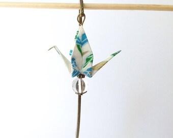 Bookmark flat crane, origami crane origami, Japanese paper, bronze color support