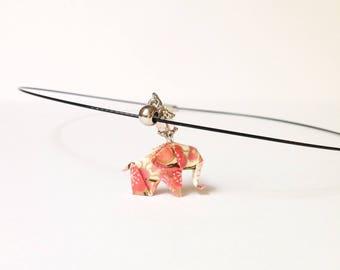 Necklace origami elephant, origami jewelry origami Japanese paper pendant, black Choker