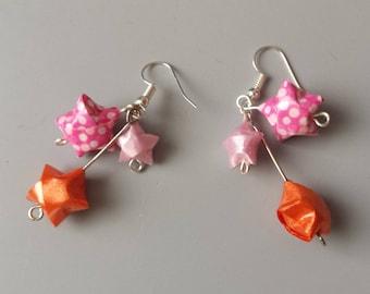 Origami earrings three stars