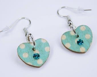 Earrings Heart light blue with dots and rhinestones on silvery earrings wooden pendant earrings Jewelry Oktoberfest dirndl Jewelry Dirndl