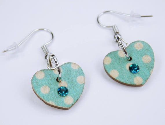 Earrings Heart light blue with dots and rhinestones on silvery earrings wooden pendant earrings Jewelry Oktoberfest dirndl Jewelry Dirndl