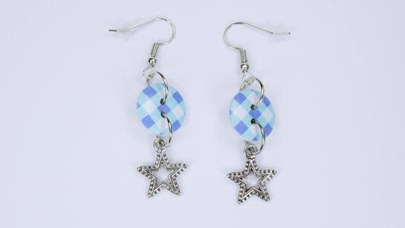 Earrings star with blue plaid Christmas winter jewelry-Stars on silver-colored earrings pendant white blue light pink button