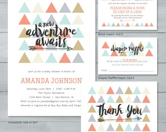 A New Adventure Awaits Baby Shower Invitation Suite  |  Triangles Arrow Baby Shower Invite  |  Gender Neutral Baby Shower Invite