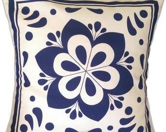 "Talavera inspired sofa cushion, 18x18"" Style # 04"