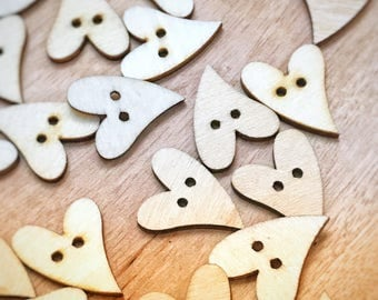 2 hole cute wood heart buttons, 22mm buttons, sewing, knitting, crafts, 10 buttons per pack, cute wooden buttons
