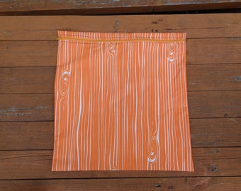 Orange Wood Grain Fabric Mega Poppins Waterproof Lined Zip Pouch - Sandwich bag - Eco - Snack Bag - Bikini Bag - Lunch Bag - Swim Bag