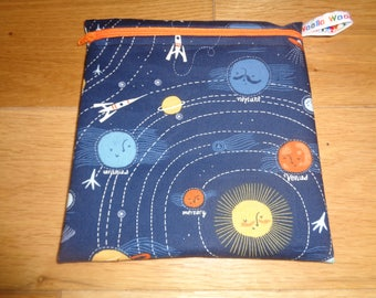 Sandwich Baggie Snack Bag - Bikini Bag - Lunch Bag - Craft Bag Medium Poppins Waterproof Lined Zip Pouch - Sandwich bag Solar System Planets