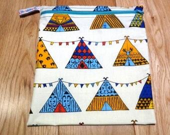 Sandwich bag  - Baggie - Eco - Snack Bag - Bikini Bag - Lunch Bag - Tool Bag - Large Poppins Waterproof Lined Zip Pouch - Wigwam Tepee Tent