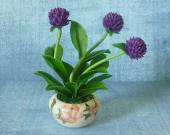 Globe amaranth flower pot artificial flower 3 3/4 inch/Dollhouse miniture /Polymer clay flower pots/ Miniature flower
