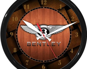 """12"""" Woodgrain & Copper Bently Wall Clock Garage Work Shop Gift Father's Day Man Cave Rec Room"""