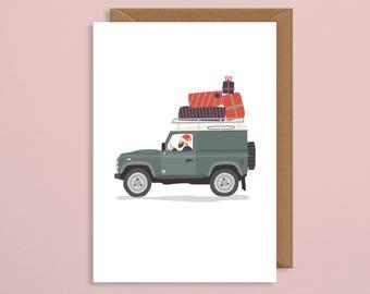 Christmas card for dad.Land Rover christmas card.Defender.country christmas card.farming.xmas cards.husband.Christmas card Funny.pack.set