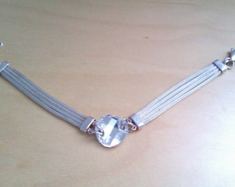 vintage silver 925 4 strand wheat bracelet with clear faceted glass stone