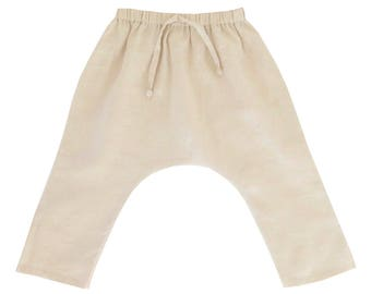 SALE 20% OFF - Tan Coast Slouch Pants, Drop Crotch Pants, Harem Pants, Linen Pants