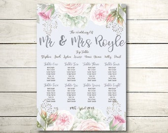 A3 floral vintage wedding / table seating plan