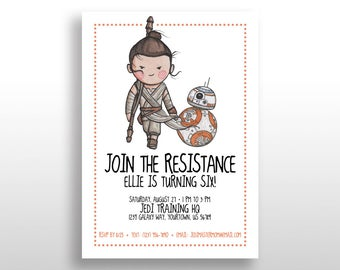 EDITABLE PRINTABLE Orange Star Wars Girl Invitations Rey & BB-8, Birthday Party Invite Instant Download The Force Awakens The Last Jedi .pdf