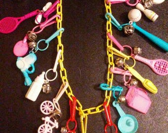 Vintage 1980s BELL CHARM Necklace with 16 Charms!!