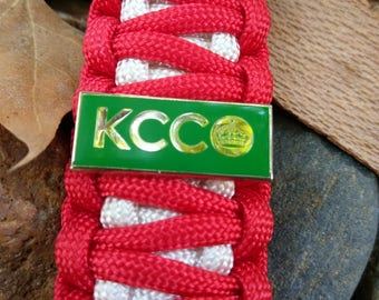 KCCO Keep Calm And Chive On Pin On Paracord Keychain