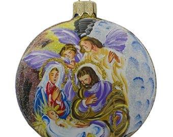 "3.25"" Angels Admiring Jesus Nativity Scene Glass Ball Christmas Ornament"