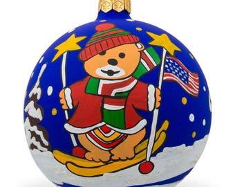 """4"""" Bear Ski with Snowman, USA Flag Animal Glass Ball Christmas Ornament"""
