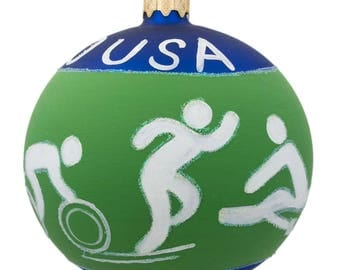 "4"" Swimming, Boxing, Biking, Track, Rowing USA Olympic Glass Ornament"