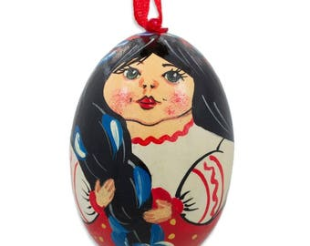 "3"" Ukrainian Doll in Embroidered Blouse Vyshyvanka Wooden Egg Ornament"