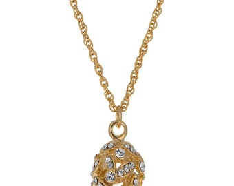 """Gold Tone Crystal Leaves Egg Pendant Necklace 22"""""""