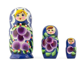 "3.5"" Set of 3 Daffodils Flowers Wooden Russian Nesting Dolls"