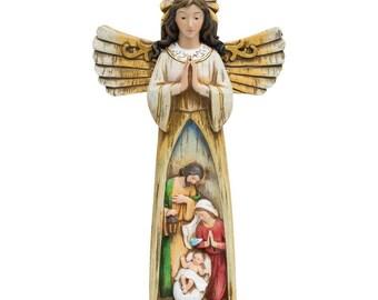 "11"" Guardian Angel Overlooking Nativity Scene Figurine"