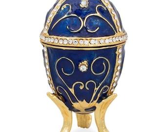 "3.25"" Golden Vines Blue Enamel Jeweled Faberge Inspired Easter Egg"