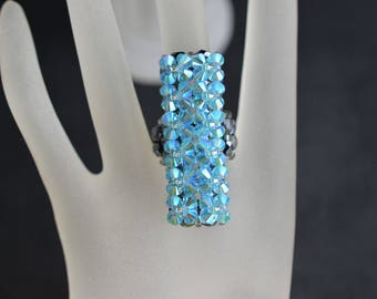 Long Swarovski crystal ring - aquamarine ab2x