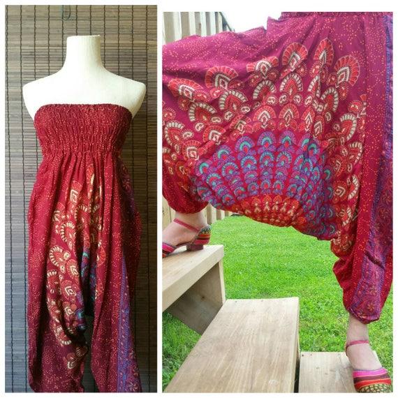 Maroon harem pant, xmas gift for her, Mandala Harem pant, Printed Harem pant, Boho fashion, Bohemian fashion, Rayon pant, Beach pant