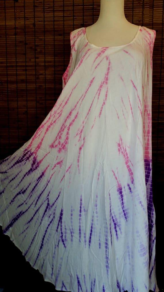 Pink Purple Tiedye dress summer dress Beach Cover up Sleeveless dress Bohemian dress Indian dress hippie gypsy dress free size dress; to 5XL