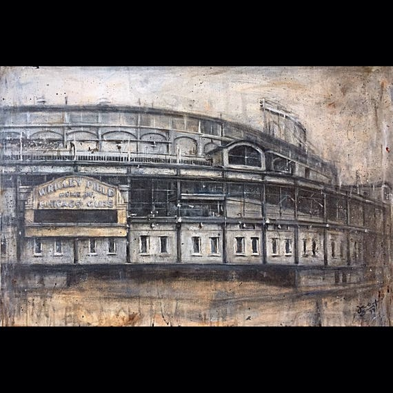 """Wrigley Field"" - Chicago Cubs - 24""x36"" - Acrylic on Canvas - Framed"