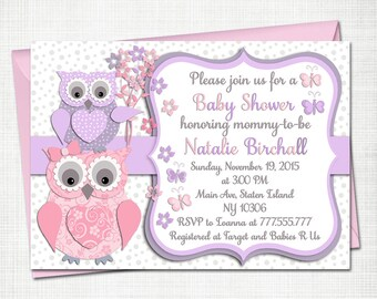 Owl Baby shower printable invitation baby girl digital invite personalised invitation birthday party invite DIY card Pink lilac grey