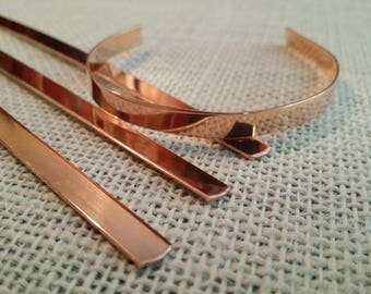 70 Polished 1/4' x 6' 20 Gauge Pure Copper Cuff Bracelet Blanks-Flat
