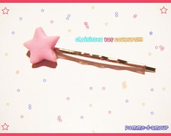 Greed pastel fimo clay star hair clip