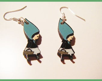 The little Red Riding Hood wooden earrings