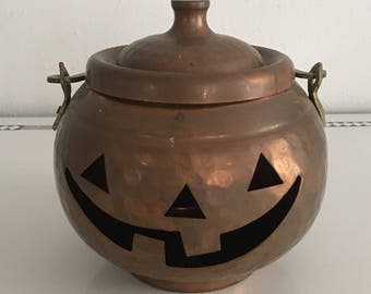 Vintage Copper Pumpkin Pot, Halloween, Jack O Lantern, Fall Festival