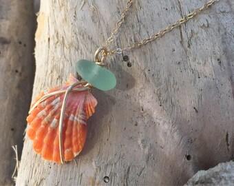 Sunrise and Sea Glass Necklace// 14k GF