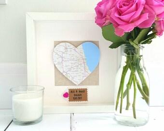 Heart Map Frame/Engagement  Frame/Wedding Frame/Gifts for Couples/New Home Frame/Wedding Gift/Engagement Map Prints Frame/Couples Christmas
