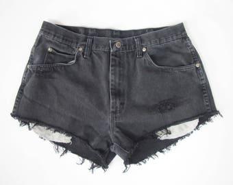 Reworked Vintage Black Wrangler Distressed Denim Cut Off Shorts